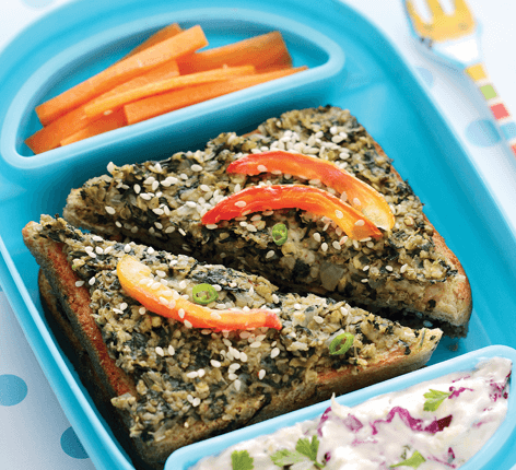 Quaker Oats Sesame Spinach Toast Tiffin